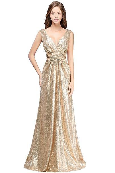 db58a633066b MisShow Damen Elegant glitzerig Brautjungfernkleider Tief V-Ausschnitt  Paillette Abendkleider Lang Ballkleider Abschlusskleid Gr.32-46  Amazon.de   ...