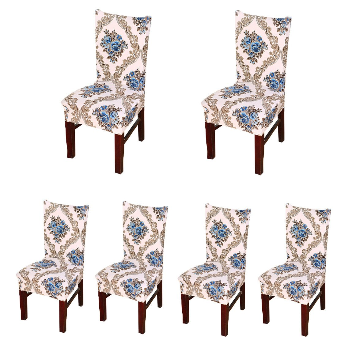 Deisy Dee Stretch Chair Cover Removable Washable for Hotel Dining Room Ceremony Chair Slipcovers Pack of 6 (A) C025