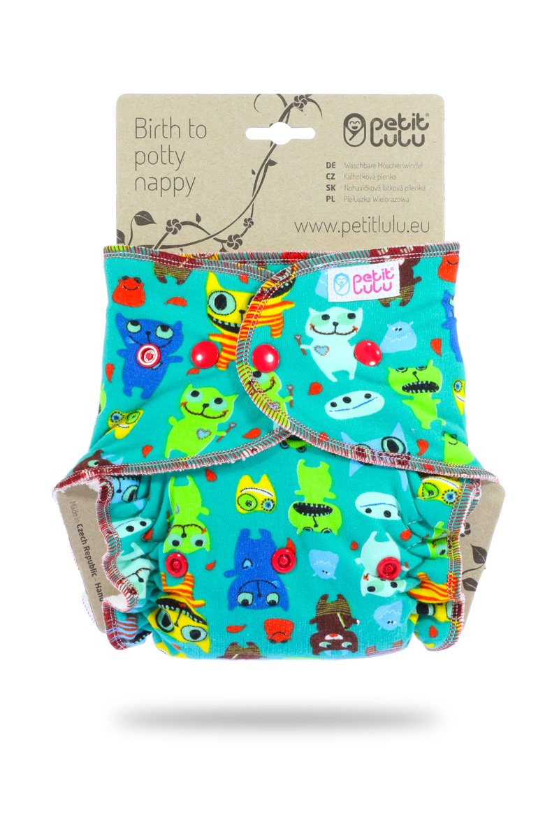 Reusable /& Washable Snaps Giraffas Petit Lulu Bamboo Fitted One Size Diaper Made in Europe Turquoise