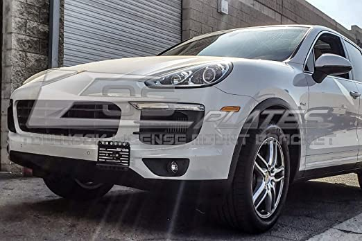 Amazon.com: Extreme Online Store Replacement for 2015-2018 Porsche Cayenne 958.2 | EOS Plate Version 1 Mid Sized Front Bumper Tow Hook License Relocator ...