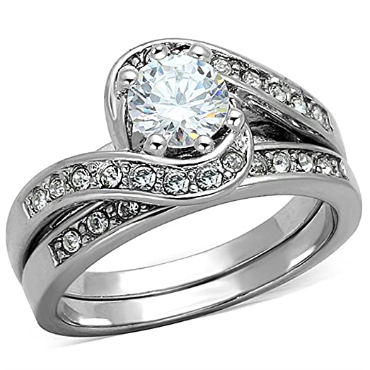 Rhodium Plated Sterling Silver 925 Vintage Style 2PCS Engagement Ring Bridal Sets For Women