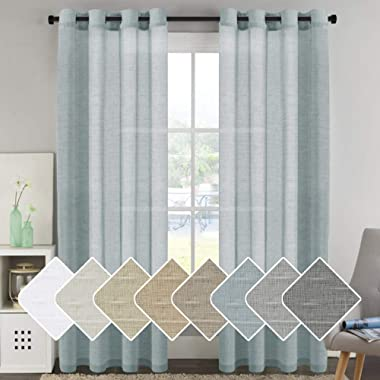 H.VERSAILTEX Linen Sheer Curtains 96 inches Long Pair Set Linen Textured Sheer Curtains Nickel Grommet Window Treatment Panels for Villa/Hall / Parlor, Open Weave - Teal - 52  W x 96  L