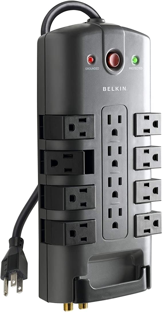 Belkin 12-Outlet Pivot-Plug Power Strip Surge Protector w/ 8ft Cord – Ideal for Computers
