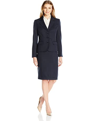 01c65f78cdf9e9 Le Suit Women's Three Button Navy Skirt Suit