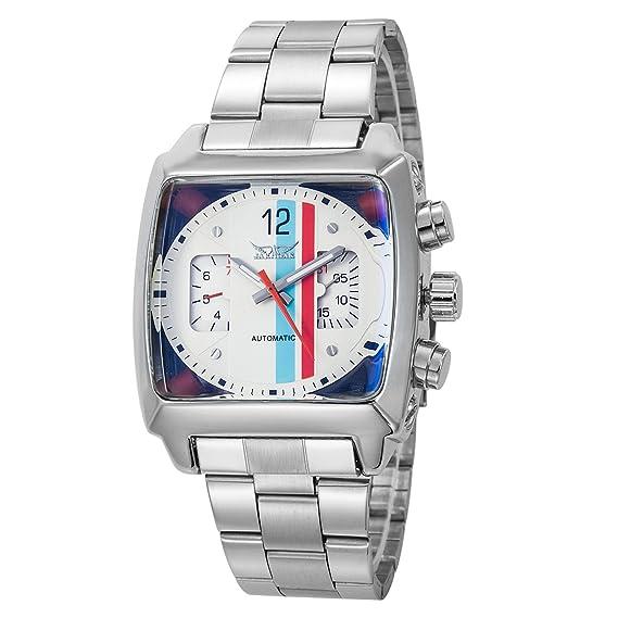 Reloj GuTe de pulsera con mecanismo automático y dial cuadrado de color blanco: JARAGAR: Amazon.es: Relojes