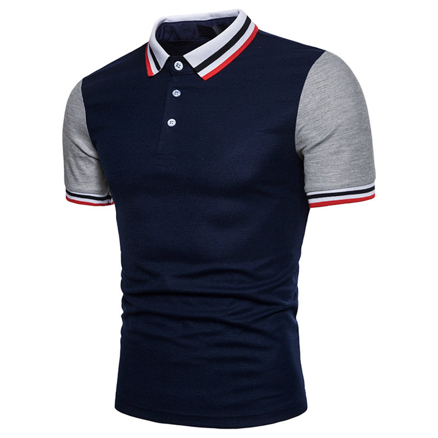 Impercity Men Polo Shirt Tops Stand Collar Male Cotton Breathable Polo Shirt XXL