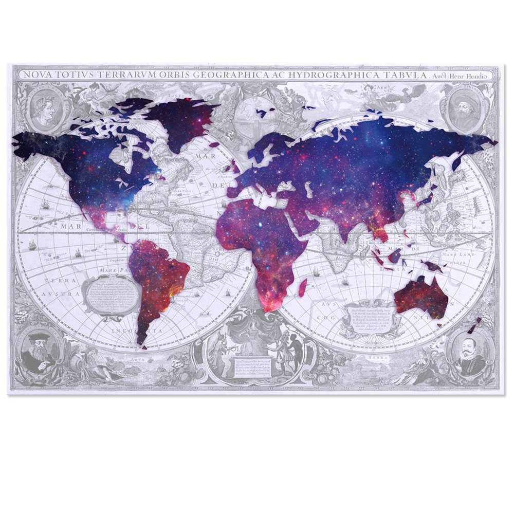 Visual Art Decor Abstract Vintage World Map Double Images Picture Galaxy Map Canvas Prints Home Wall Decor Framed and Stretched Wall Art (1 Piece, Large) by Visual Art