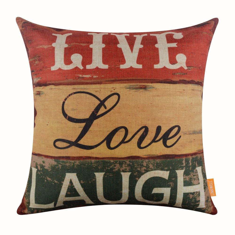 LINKWELL 18''x18'' Vintage Wood Slat Live Love Laugh Words Burlap Throw Pillow Case Cushion Cover (CC1125)