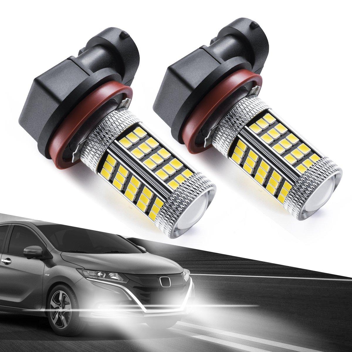 Marsauto H10/9140/9145 LED Fog Light Bulbs, 66 SMD High Power Chipsets High Visibility 6000K White (Pack of 2)