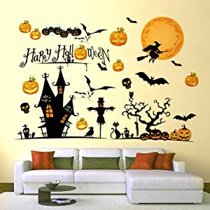 Hidreas Halloween Window Clings Decorations Stickers, Halloween Decals for Windows Glass Walls