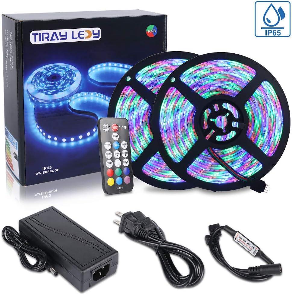 10M Tiras LED RGB 3528 600 Leds, IP65 Impermeable Multicolor Tira LED de Luces LED Kit Completo (Sin color blanco)