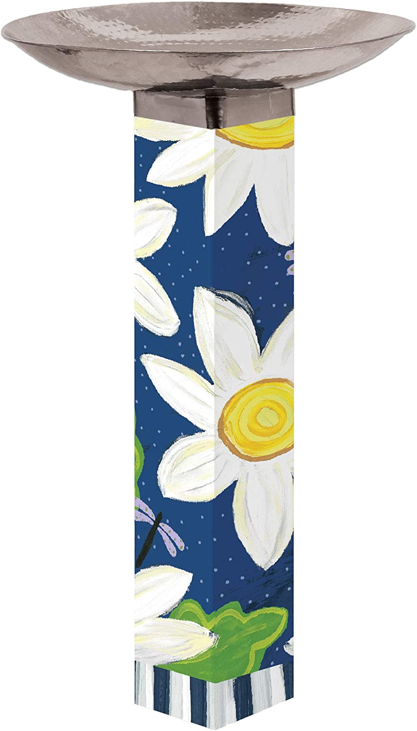 Studio M Daisy Blues Bird Bath Art Pole Hand-Hammered Stainless Steel Top, Hardware Included for Easy Installation, Printed in USA, 31 Inches Tall with 18 Inch Dia. Bowl