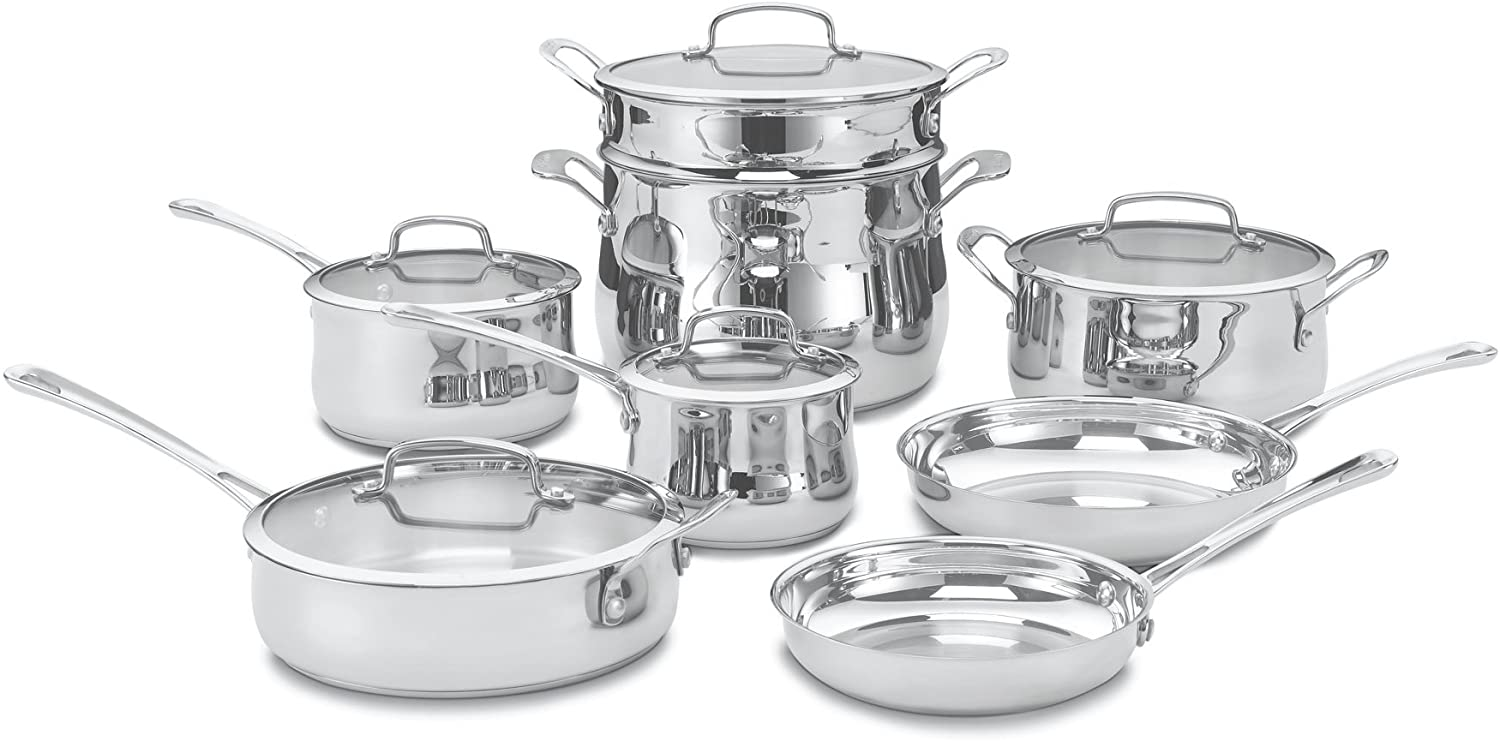 Best affordable stainless steel cookware. Cuisinart 44-13 Contour Stainless 13-Piece Cookware Set