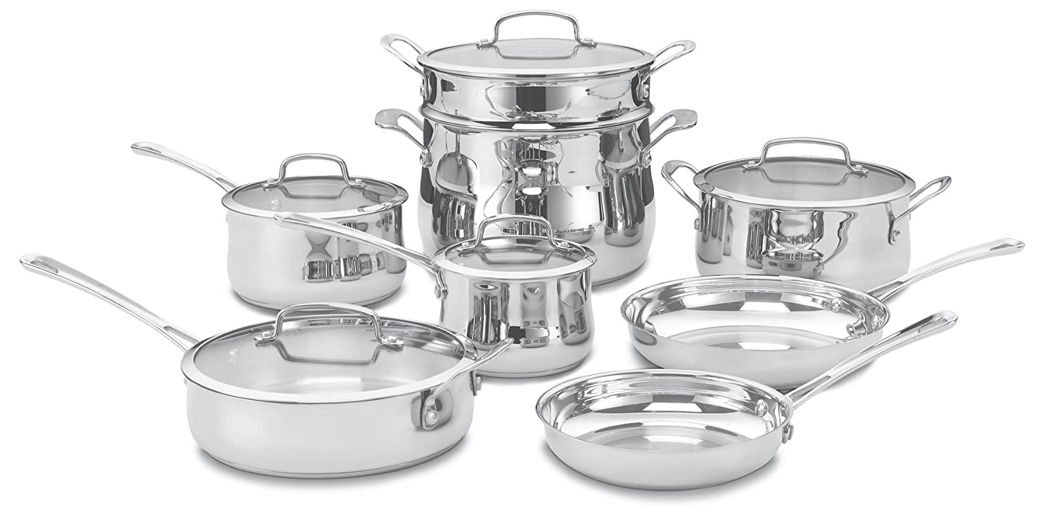 Amazon.com: Cuisinart 44-13 Contour Stainless 13-Piece Cookware ...