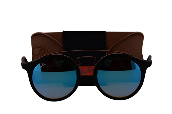 f9d4bbe2b89 Ray-Ban RB4256 New Gatsby Large Sunglasses Matte Black w Mirror Gradient  Blue 6252B7 RB 4256  Amazon.co.uk  Clothing