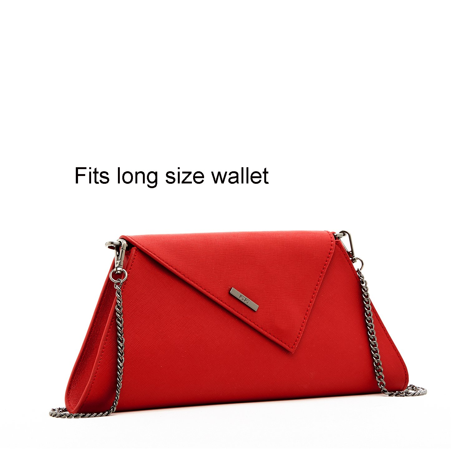 Red Clutch Purses For Women Crossbody Bags Cute Cross Body Fashion Small Purses and Handbags Luxury Party Light Gold Chain Strap Evening Bag Bright Colorful Bridal Wedding Gift by SUSU (Image #2)