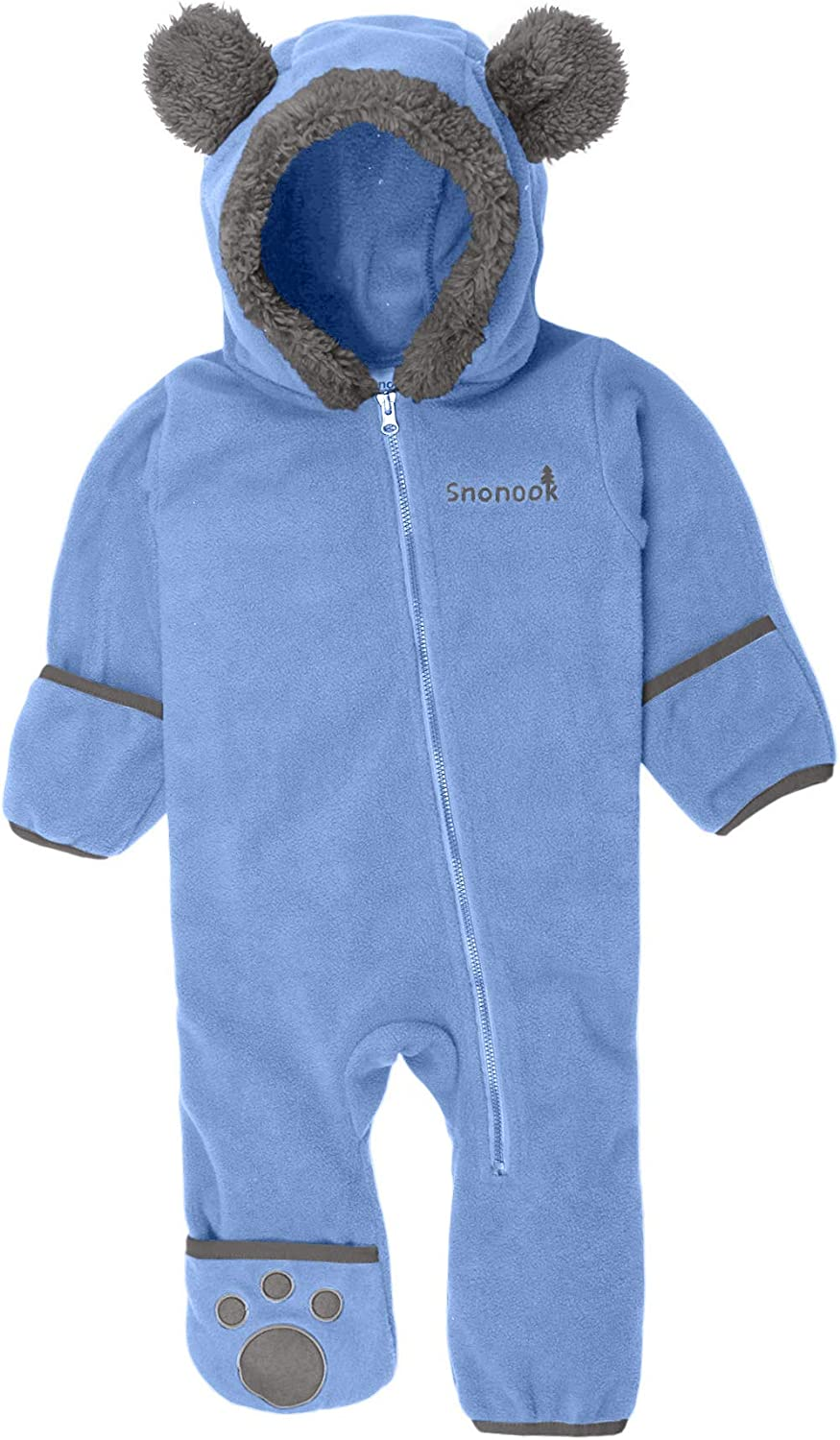 Snonook Fleece Baby Bunting Hooded Romper Bodysuit with Fold-Over Mitten and Footed Cuffs: Clothing
