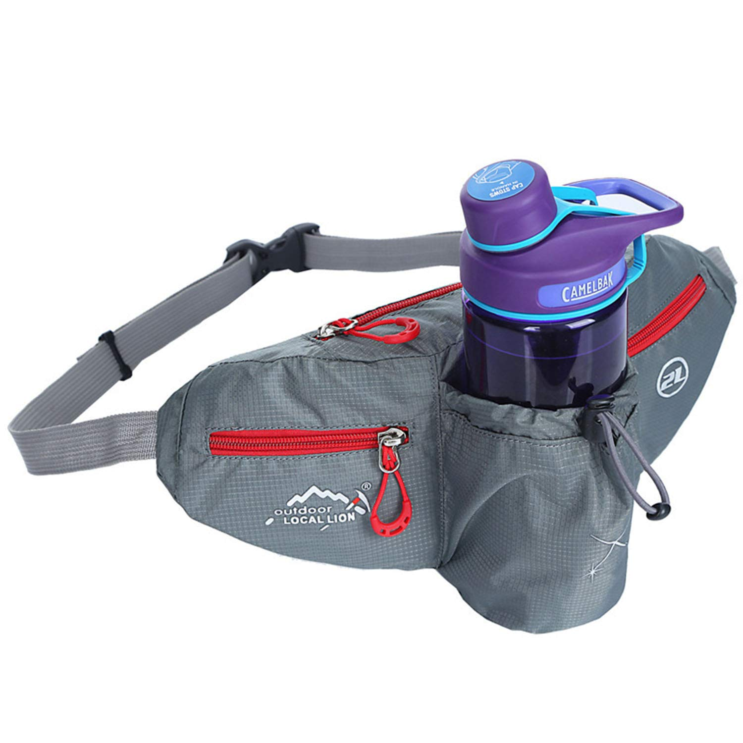 Outdoo Hiking Waist Pack Bum Bag with Bottle Holder Running Bag for Camping Climbing Travel Cycling and Dog Walking,A,3213cm