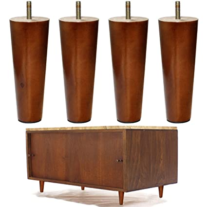AORYVIC Wood Furniture Legs Set Of 4 Sofa Legs 6 Inch Walnut Finished  Replacement Feet For
