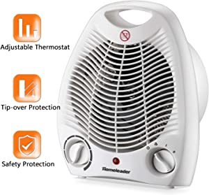 Portable Fan Heater, Small Space Heater with Thermostat, Tabletop/Floor Ceramic Heater for Office