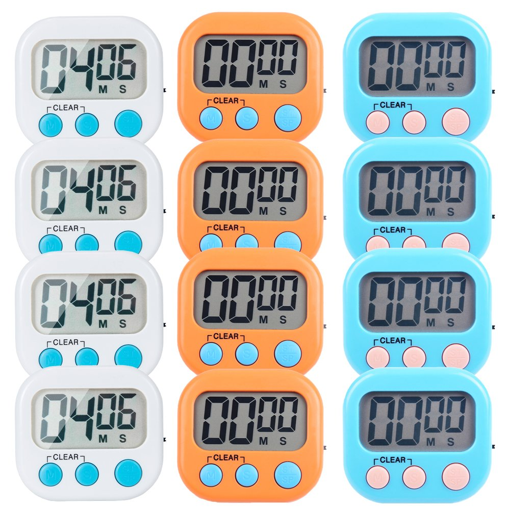 12 Pack Small Digital Kitchen Timer Magnetic Back And ON/OFF Switch,Minute Second Count Up Countdown(White,Blue,Orange) by LinkDm