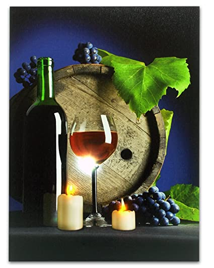 Wine Picture   Light Up LED Canvas Print Red Wine Wall Art   Battery  Operated Lighted