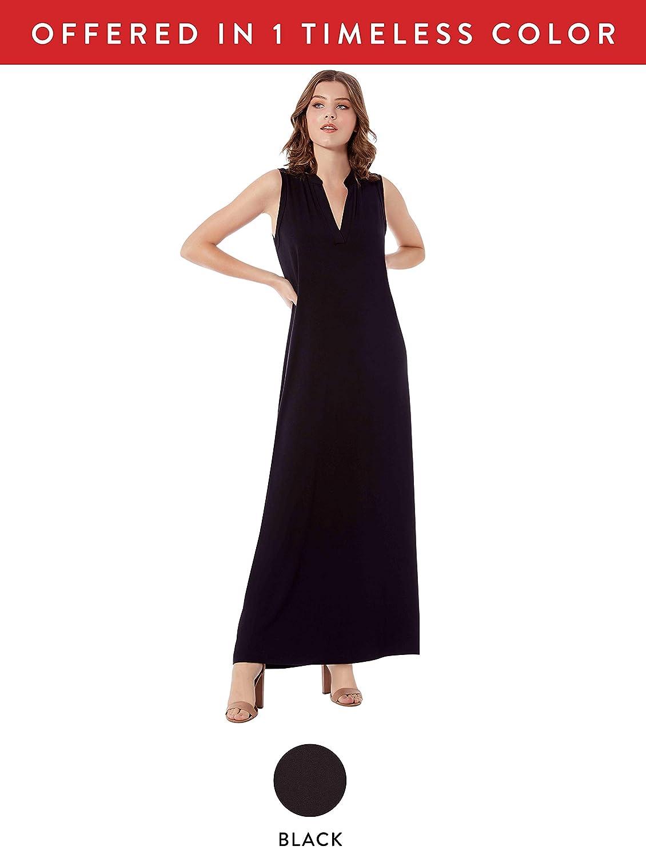 04e3280e7ff14a Rohb by Joyce Azria Pacific Sleeveless Long Maxi Mandarin V-Neck Collared  Dress at Amazon Women s Clothing store