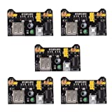 HiLetgo 5pcs 3.3V 5V Power Supply Module for MB102 102 Prototype Breadboard DC 6.5-12V or USB Power Supply Module (Color: Black, Tamaño: Small)