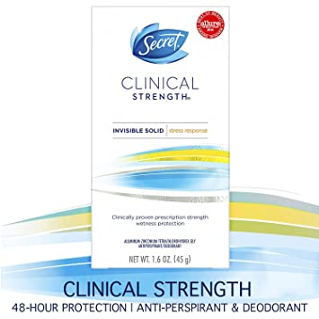 Secret Antiperspirant Deodorant for Women, Clinical Strength Invisible  Solid, Stress Response, 1 6 Oz