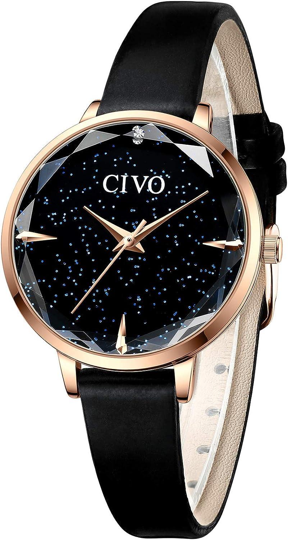 CIVO Reloj Mujer Ultra Delgada Minimalista Relojes Mujeres Impermeable Pulsera Cielo Estrellado Mujer Señoras Elegante Clásico Vestido de Negocios Casual Relojes Analógicos Mujeres Rojo Negro
