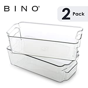 BINO Stackable Plastic Organizer Storage Bins, Medium - 2 Pack - Pantry Organization and Storage Refrigerator Organizer Bins Fridge Organizer Freezer Organizer Pantry Organizer Pantry Storage