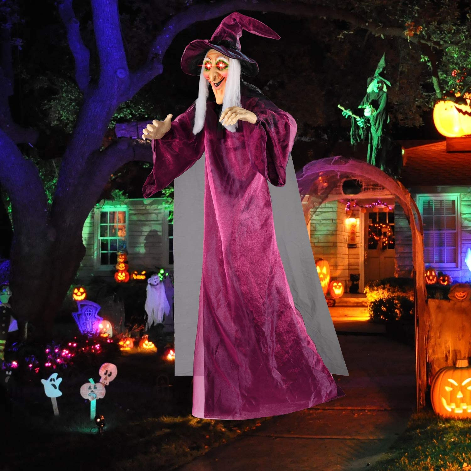 "UFUNGA Hanging Talking Witch 71"" Life Size Halloween Decorations Outdoor Halloween Witch Decor"