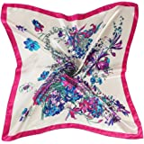 Auwer Square Scarf, Floral Printed Women Lady Square Scarf Head Wrap Kerchief Neck Satin Shawl