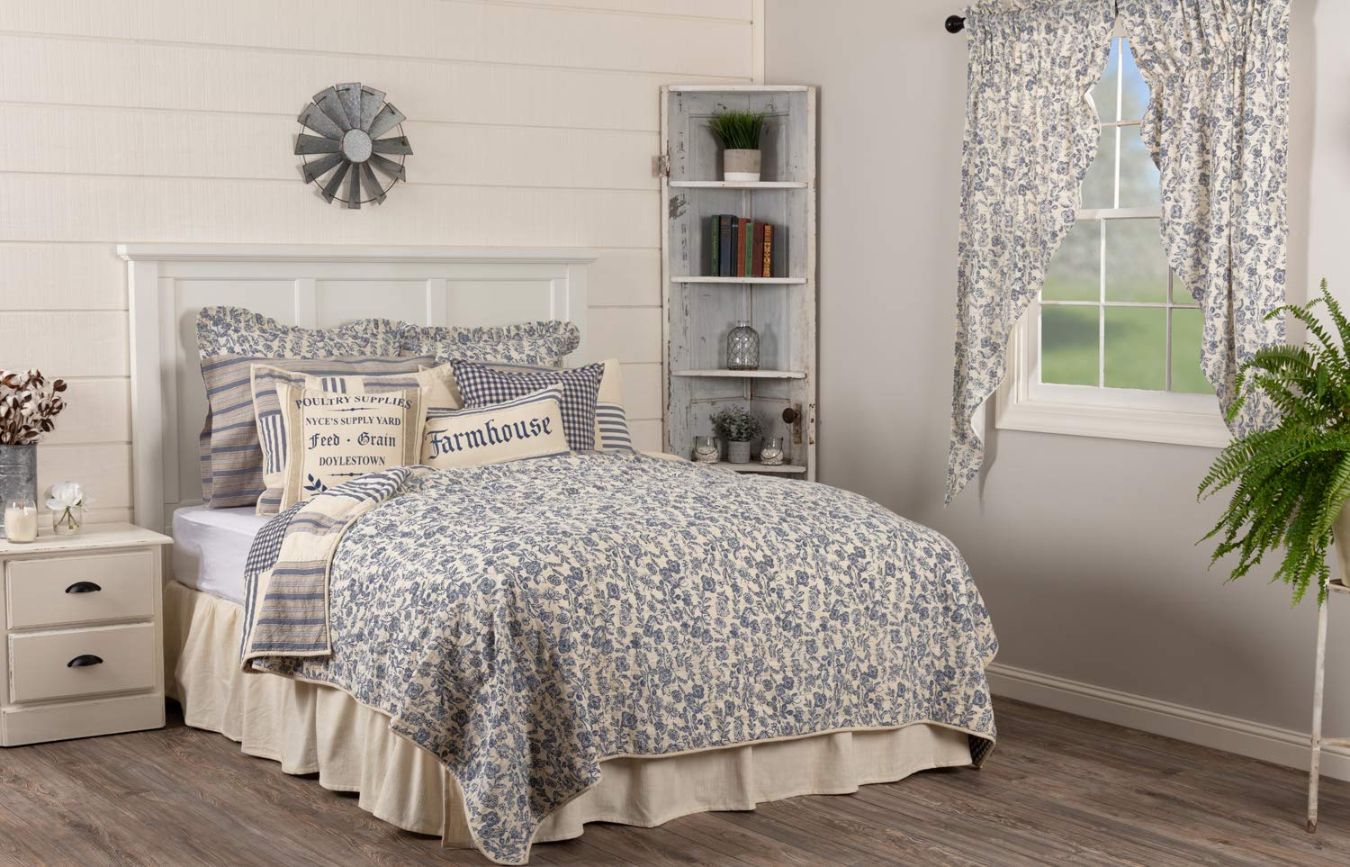 Piper Classics Doylestown Blue Queen Patchwork Quilt, Gingham Checks, Grain Sack & Ticking Stripes, Reversible to Floral Print, Blue & Cream Vintage Farmhouse Bedding, Rustic Country, Cottage Bedroom by Piper Classics (Image #4)