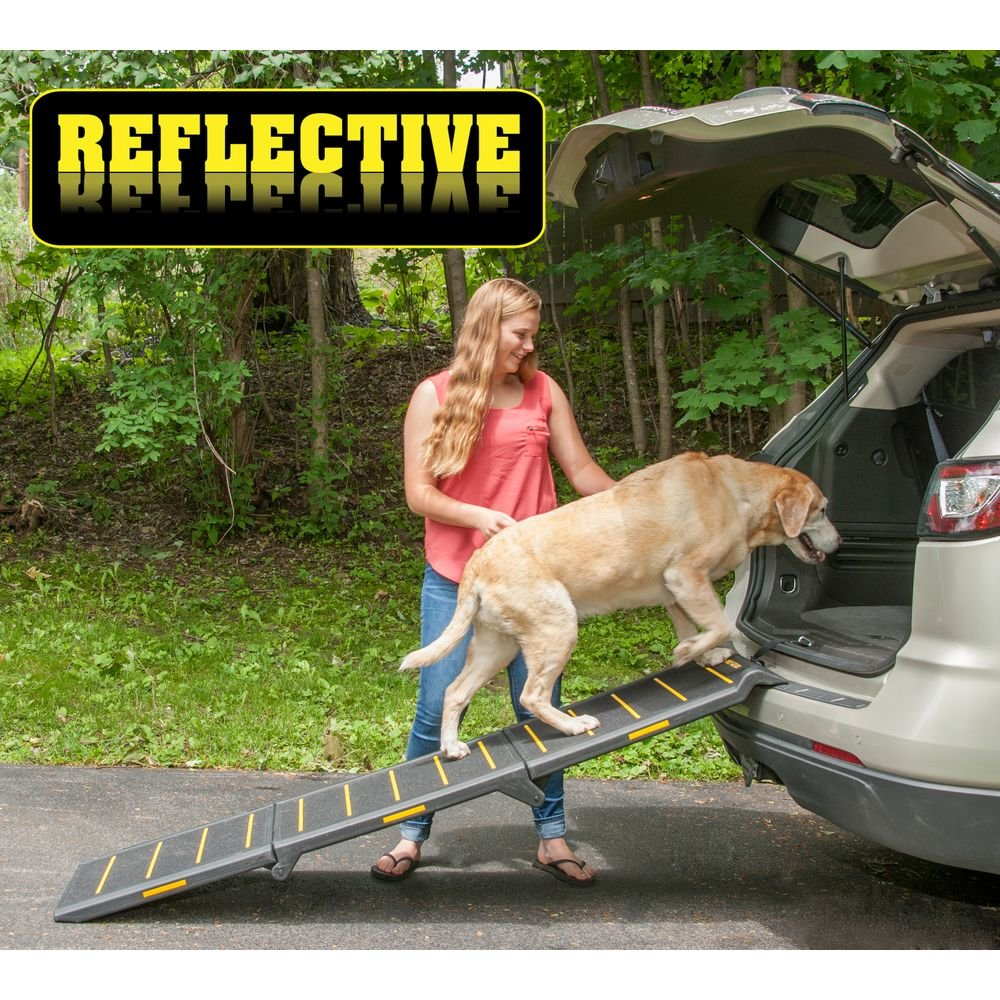 Pet Gear Tri-Fold Ramp 71 inch Extra Wide Pet Ramp Holds 200LBS, Black/Yellow(Reflective)