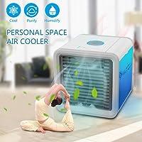 Climatiseur Portable Humidificateur D'air - Mini Ventilateur USB Refroidisseur - Humidificateur Purificateur D'air Personnel avec des Lumières de 7 Couleurs LED - pour Maison Bureau Camping Puissance