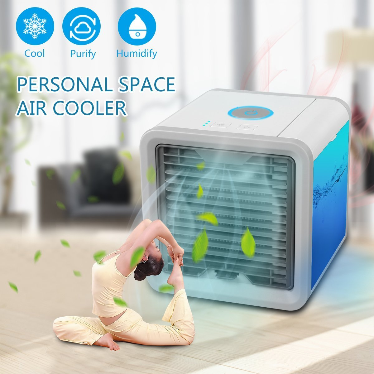 Personal Space Air Conditioner Portable Mini Air Cooler Humidifier & Purifier with 7 Colors LED Lights for Room, Office,Outdoor (White&Grey)
