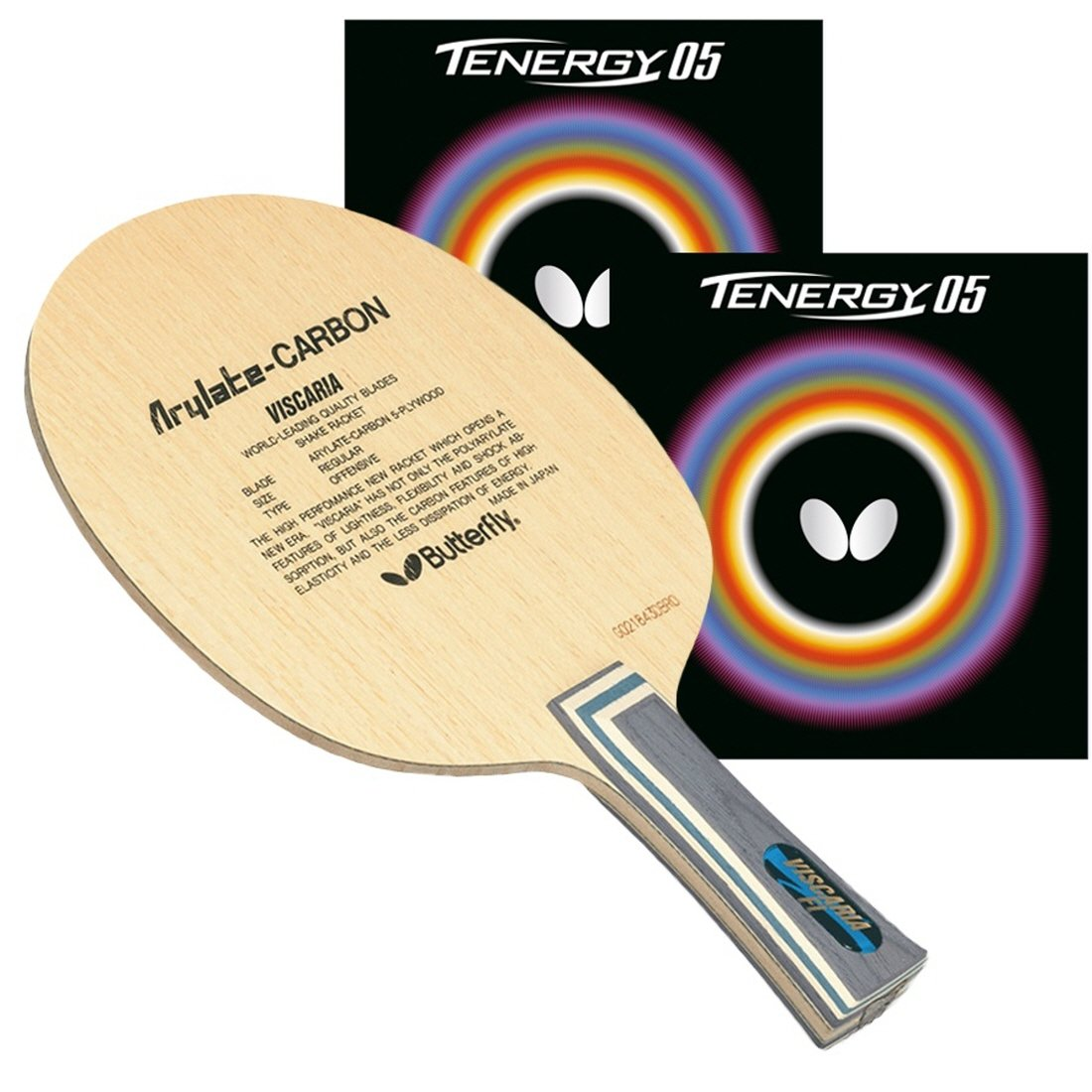Butterfly Viscaria FL Blade with Tenergy 05 2.1 Red/Black Rubbers Pro-Line Table Tennis Racket