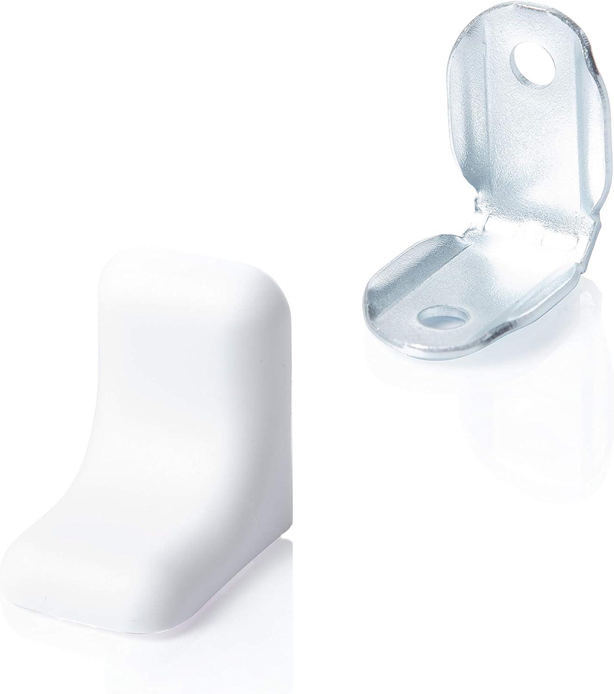20 x Soportes de esquina Fabricado en acero galvanizado con tapa | Color: Blanco | Sossai BT2 | Conector de muebles/angular con tapa