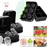 Homipooty Ice Cube Tray,5 Ice Cube Molds Sets with Lid, Include Large Ice Ball, Square Ice Cube,Skull Ice Cube Trays,Honeycom