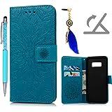 Funda para Samsung Galaxy S8, Funda Libro de Cuero Impresión de Girasol,Flip Cover para Samsung Galaxy S8, Wallet Case con Soporte Plegable, Ranuras para Tarjetas y Billete (Funda Azul + Lápiz capacitivo + Enchufe anti del polvo)