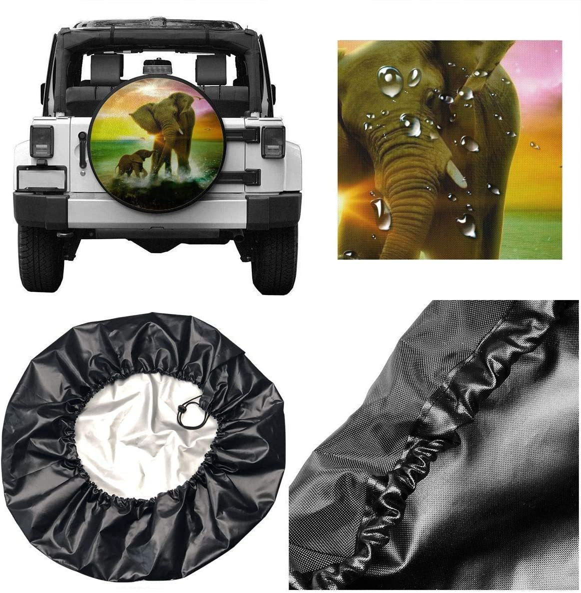 RV Kejbr Reserveradabdeckung Rainproof Protective Cover Love It Elephants Water Proof Universal Reifenabdeckungs Fit for Trailer SUV and Various Vehicles 14 15 16 17 Inch