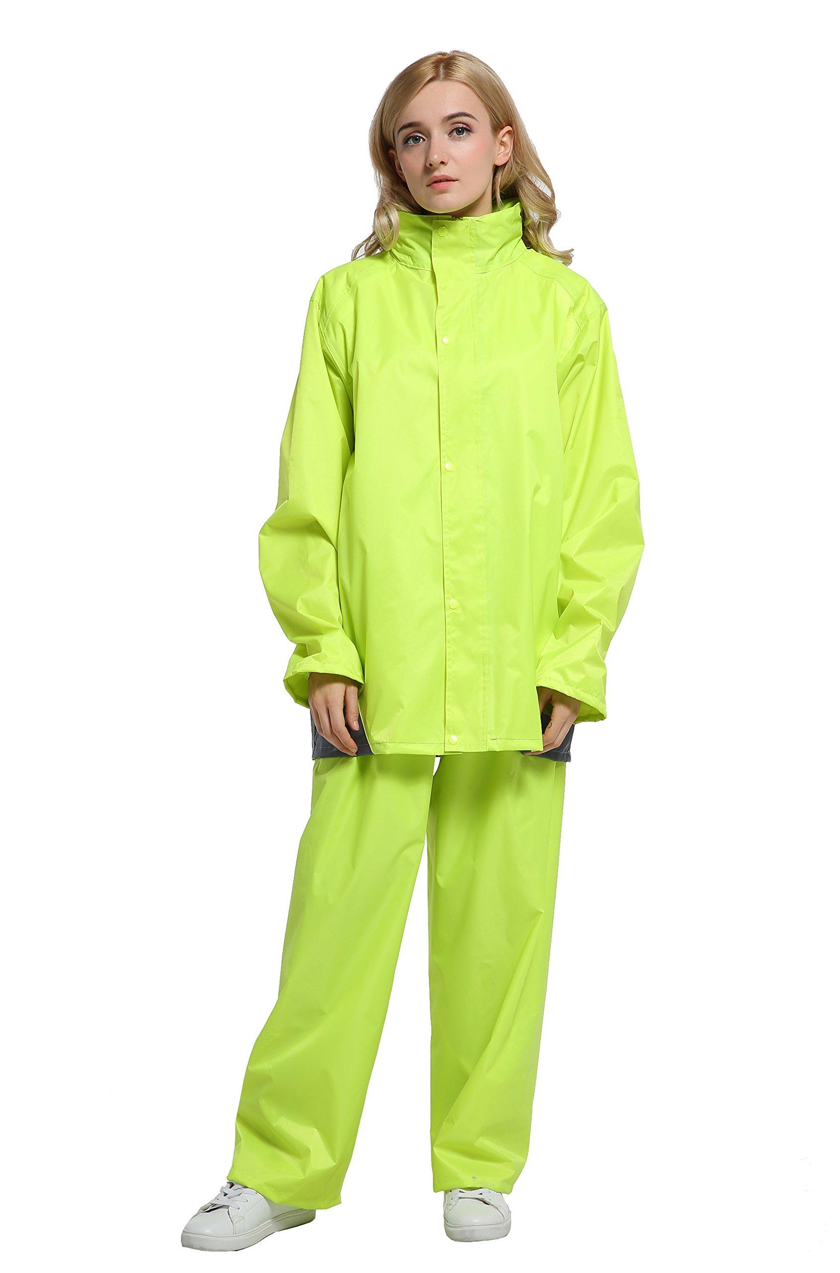 Maiyu Motorcycle Rain Gear 2 Piece Rain Suit Rain Jacket and Rain Pants Set (Yellow, Large)