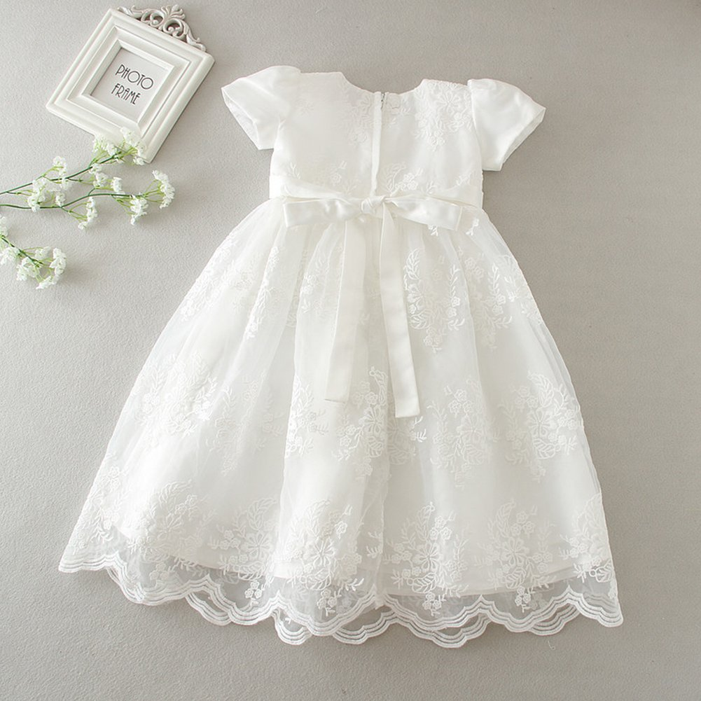 OBEEII Christening Gowns for Baby Girls Baptism Long Dress Embroidery  Floral Lace Special Occasion Formal Dress larger image a4d327e2e