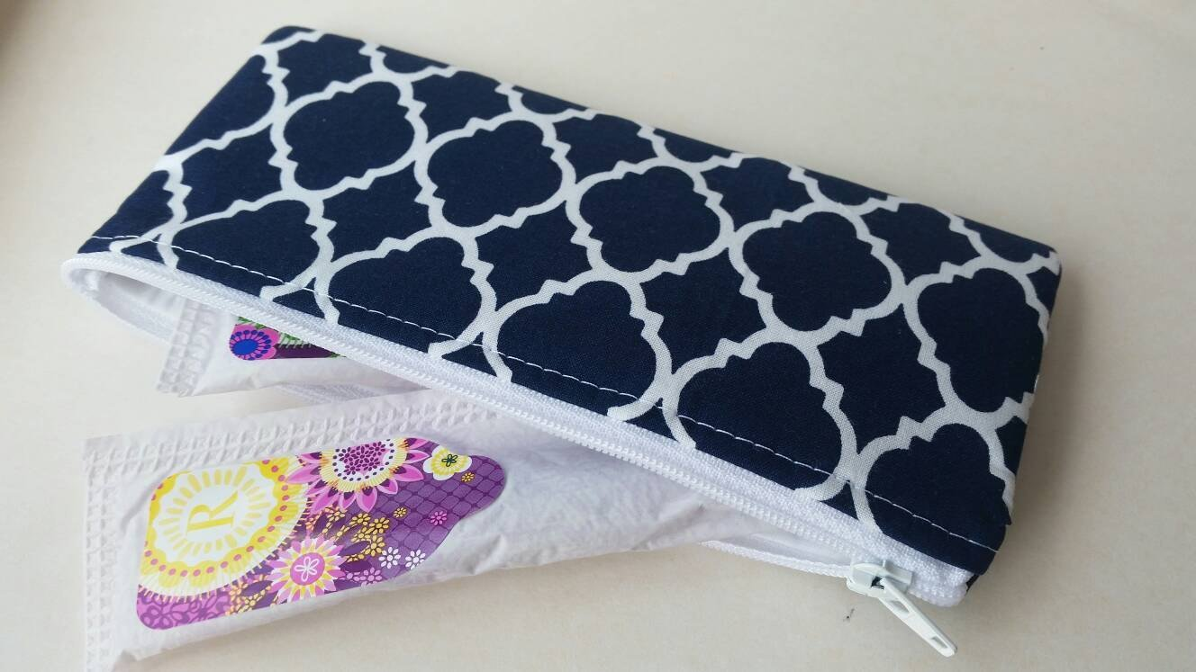 Tampon or sunglasses case- Navy and white