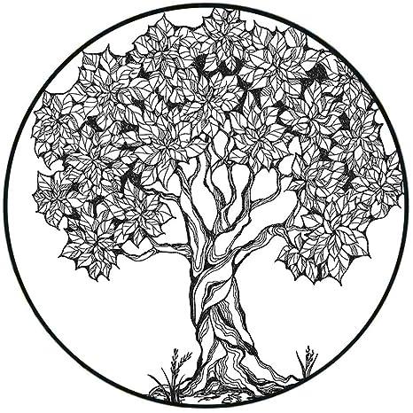 Amazon Com Short Plush Round Area Rug Nature Tree Of Life