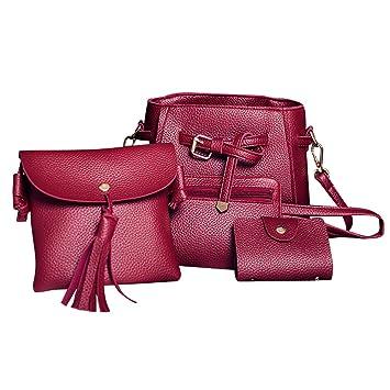 IMJONO Mujer Cuatro Conjuntos Moda Bolso Hombro Bolso Cuatro Piezas Totalizador Bolso Billetera Crossbody: Amazon.es: Equipaje