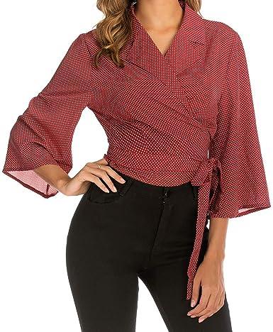 beautyjourney Camisa Vintage de Manga 3/4 para Mujer Tops Blusa con Estampado de Solapa Elegante Camiseta Casual de Negocios Camisa Corta Slim Fit: Amazon.es: Ropa y accesorios