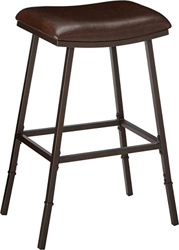 Hillsdale Saddle Counter Bar Stool with Nested Leg, Brown