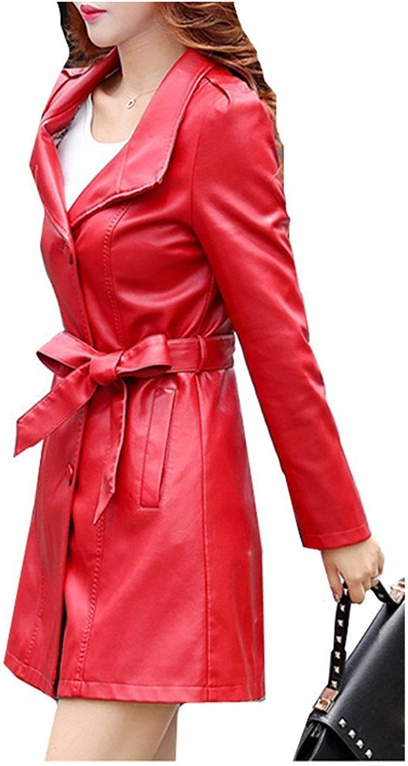 LOKOUO Fashion Womens Long Jacket Single Breasted Belt Faux Leather Trench Coats